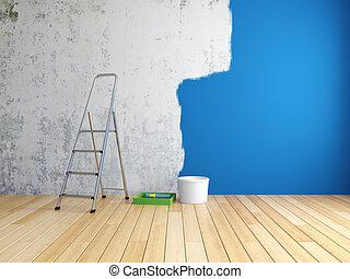Repair in room - Repair and painting of walls in room. 3D...