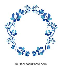 Old traditional gzel ornament. Decorative floral blue and...