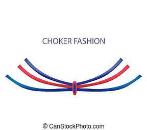 Realistic Modern Necklace - Choker. Vector Illustration