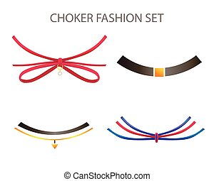 Realistic Modern Necklace - Choker. Vector Set.