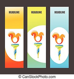 Colorful Olympic Brochures and Banners. Brazil Colors. Torch with Flame. Vector Illustration. Abstract Background. Olympic Games Symbol.