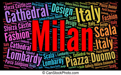 Milan word cloud concept