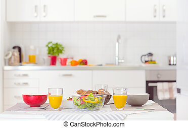Halthy breakfast on table in white kitchen - Halthy...