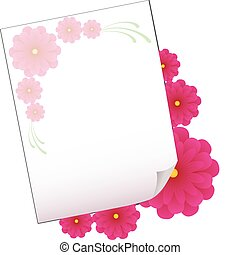 Background with sheet of paper and flowers, part 4, vector illustration