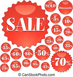 Big red Sale stickers, vector illustration