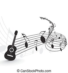 Music notes with guitar player for design use, vector...