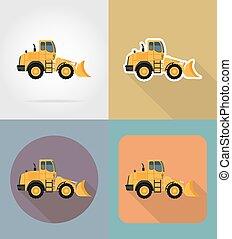 bulldozer for road works flat icons vector illustration...