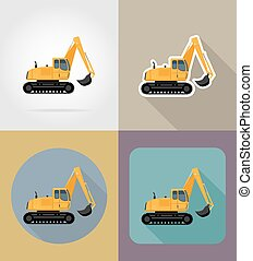 excavator for road works flat icons vector illustration...