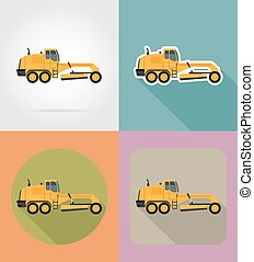 grader for road works flat icons vector illustration...