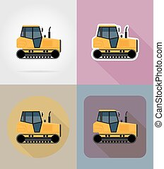 caterpillar tractor flat icons vector illustration isolated...