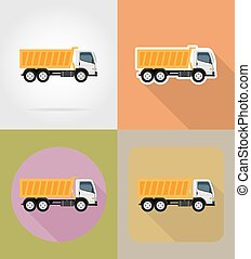 tipper truck for construction flat icons vector illustration...
