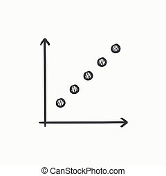 Growth graph sketch icon.