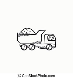 Dump truck sketch icon - Dump truck vector sketch icon...