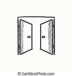 Open doors sketch icon. - Open doors vector sketch icon...