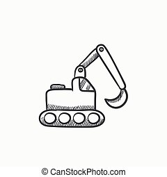 Excavator sketch icon - Excavator vector sketch icon...