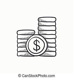 Dollar coins sketch icon - Dollar coins vector sketch icon...