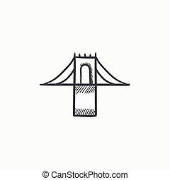 Bridge sketch icon. - Bridge vector sketch icon isolated on...