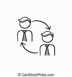 Staff turnover sketch icon. - Staff turnover vector sketch...
