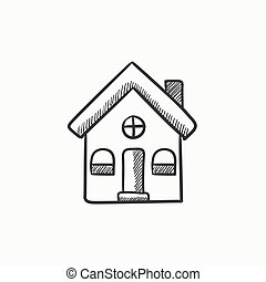 Detached house sketch icon. - Detached house vector sketch...