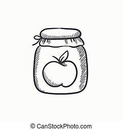 Apple jam jar sketch icon - Apple jam jar vector sketch icon...