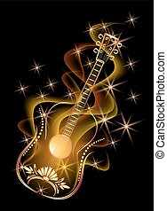 Golden guitar in smoke and stars