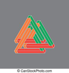 Optical Illusion, impossible geometry. Vector Illustration