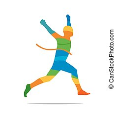 Man winning a race. Runner Side view. Abstract colorful...