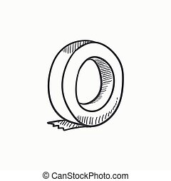 Roll of adhesive tape sketch icon. - Roll of adhesive tape...