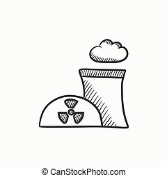 Nuclear power plant sketch icon - Nuclear power plant vector...