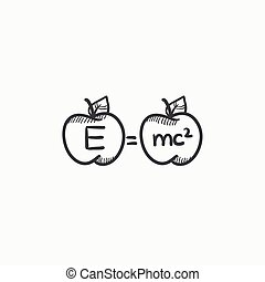 Two apples with formulae sketch icon - Two apples with...