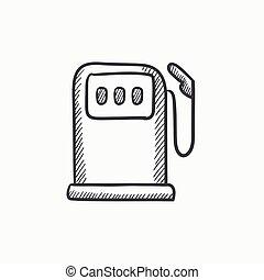 Gas station sketch icon - Gas station vector sketch icon...
