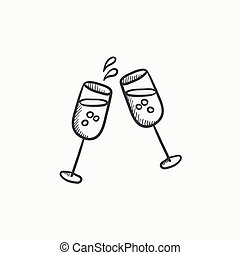 Two glasses of champaign sketch icon - Two glasses of...