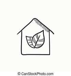 Eco-friendly house sketch icon - Eco-friendly house vector...