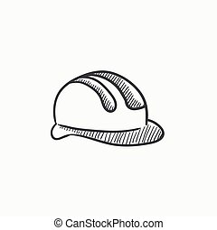 Hard hat sketch icon - Hard hat vector sketch icon isolated...
