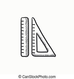 Rulers sketch icon. - Rulers vector sketch icon isolated on...