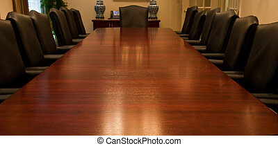 Surface of Long Meeting Room Table - A long polished...