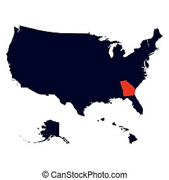 Georgia State in the United States map vector