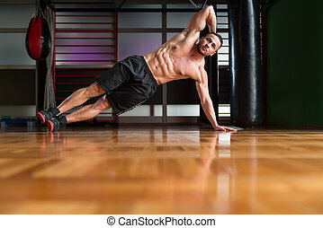 Side Plank Hip Raise Abdominal Crunch - Exercising Abs Side...