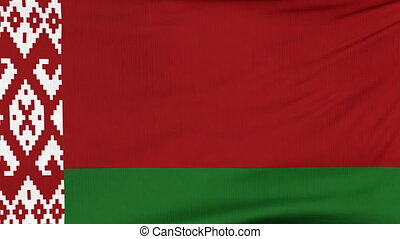 National flag of Belarus flying on the wind