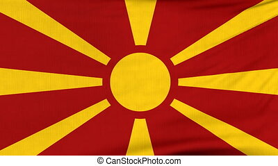 National flag of Macedonia flying on the wind - National...