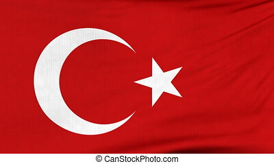 National flag of Turkey flying on the wind - National flag...
