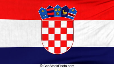 National flag of Croatia flying on the wind - National flag...