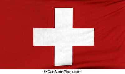 National flag of Switzerland flying on the wind - National...