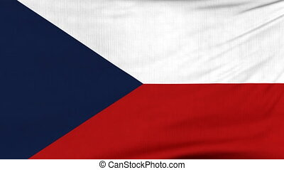 National flag of Czechia flying on the wind - National flag...