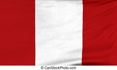 National flag of Peru flying on the wind