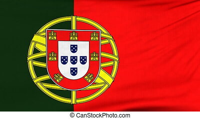 National flag of Portugal flying on the wind - National flag...