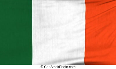 National flag of Ireland flying on the wind