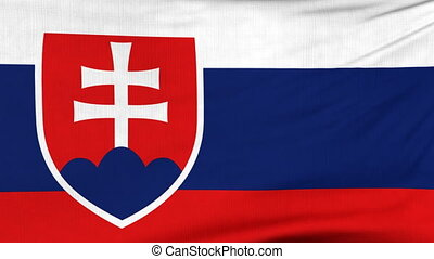 National flag of Slovakia flying on the wind - National flag...