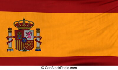 National flag of Spain flying on the wind