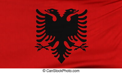 National flag of Albania flying on the wind - National flag...